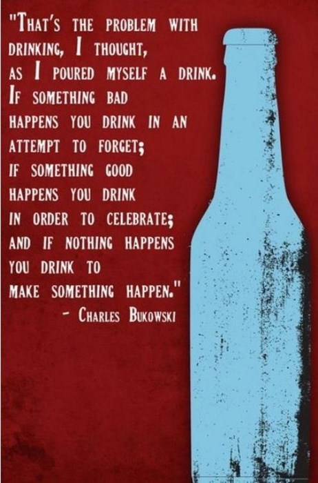 drinking,charles bukowski,quote,funny