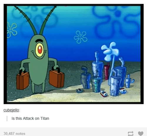theoftenrightgal anime SpongeBob SquarePants attack on titan cartoons - 8153147392