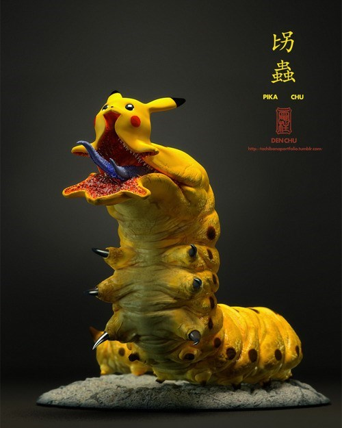 sculpture pikachu worms