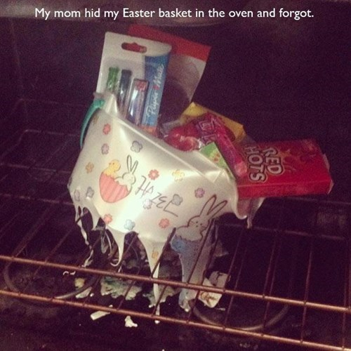 easter basket,forgot,easter,kids,oven,parenting,g rated