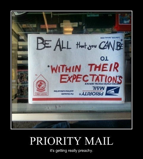 expectations,funny,priority mail