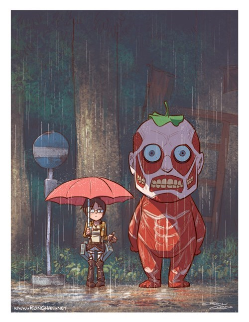 anime my neighbor totoro Fan Art attack on titan - 8158414336