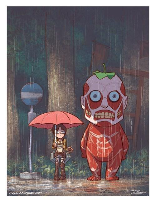 anime my neighbor totoro Fan Art attack on titan - 8158414336