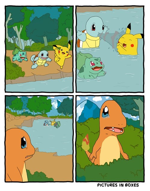 bulbasaur charmander squirtle starters pikachu swimming