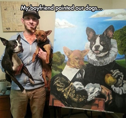 art,dogs,painting,skeptical