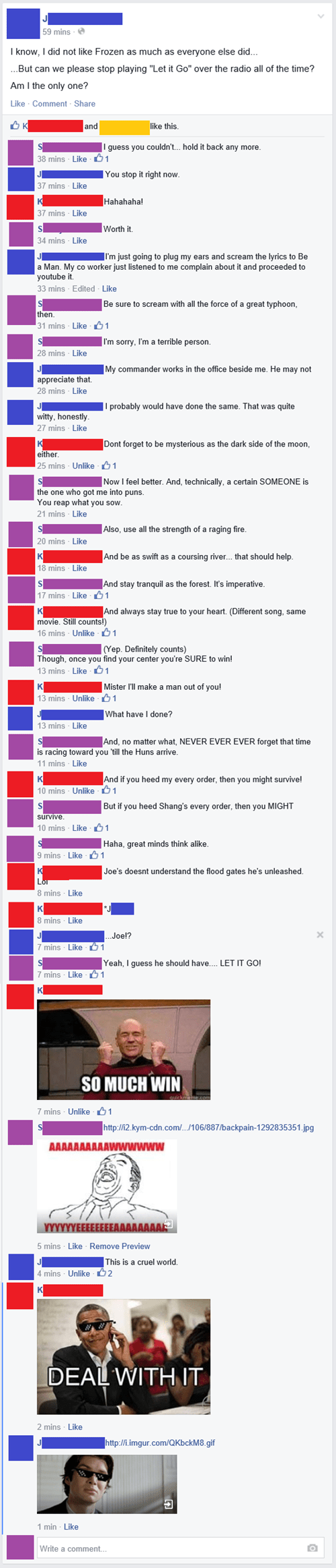comment thread,disney,lyrics,frozen,mulan,let it go,failbook