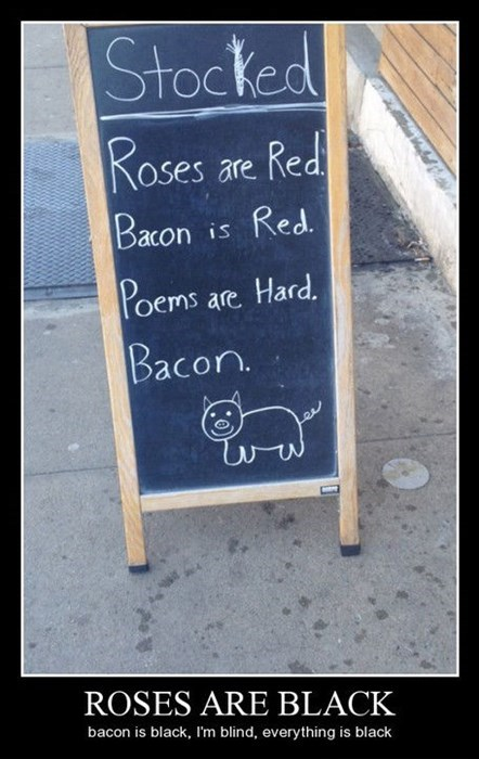 bacon funny poem sign - 8159535872