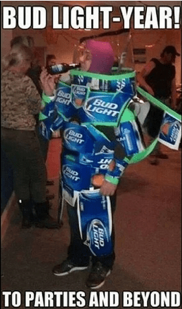beer,bud light,costume,buzz lightyear,funny