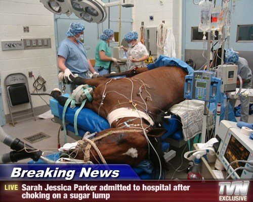 Breaking News - Sarah Jessica Parker admitted to hospital after choking on a sugar lump