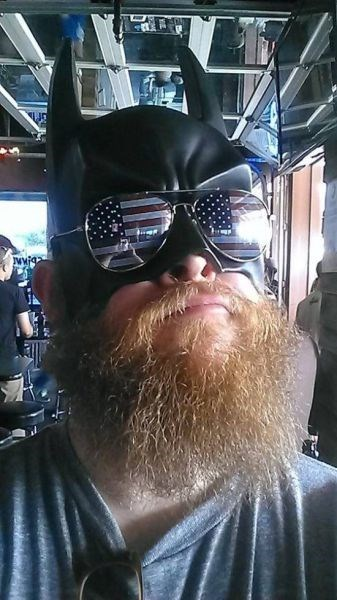 American Flag,batman,beard,facial hair,mask,poorly dressed,your argument is invalid,sunglasses
