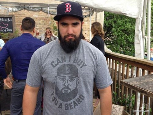 beard facial hair poorly dressed t shirts matching red sox