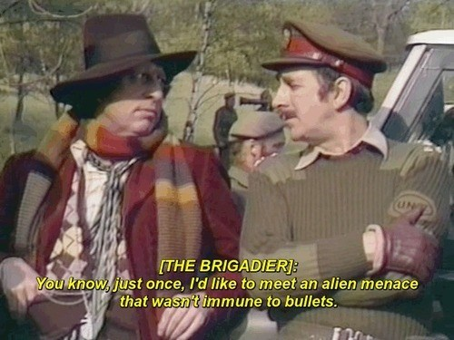 brigadier lethebridge-stewart,classic who,bullets