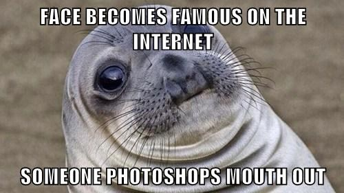 FACE BECOMES FAMOUS ON THE INTERNET  SOMEONE PHOTOSHOPS MOUTH OUT