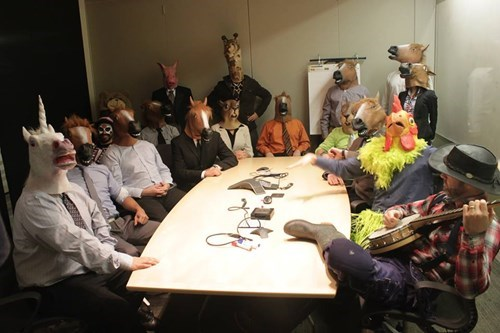 monday thru friday,meeting,work,mask,horse mask,g rated