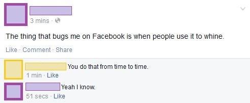 whining facebook irony - 8162521088
