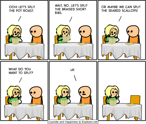 breakup,couple,comics,cyanide and happiness,dinner,funny