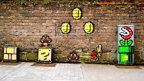 Street Art hacked irl video games mario