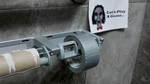bathrooms saw jigsaw toilet paper duct tape - 8166869248