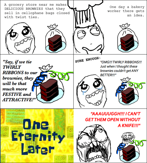 rage,trollface,packaging,ribbons,brownies