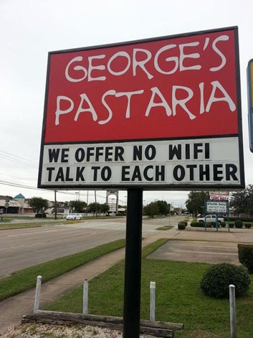 monday thru friday,sign,work,wifi,restaurant