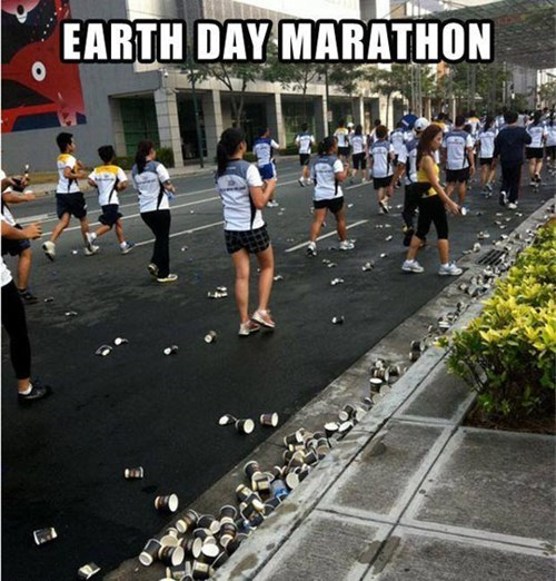 Earth Day,littering,marathon,irony
