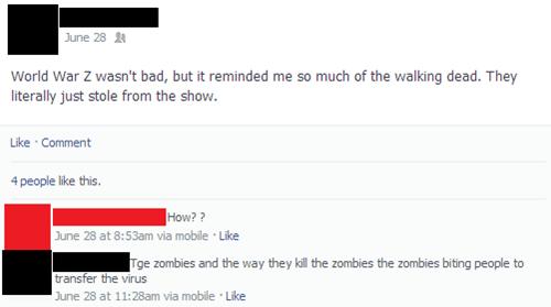facepalm world war z zombie The Walking Dead - 8167399168