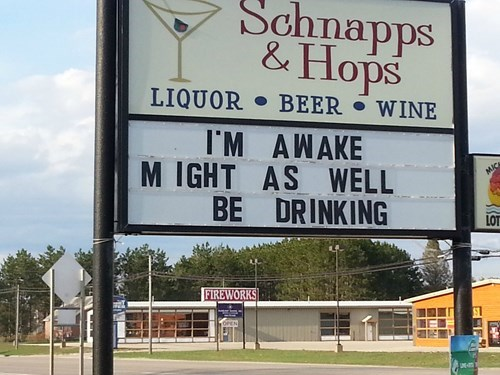 awake funny liquor store sign - 8167557888