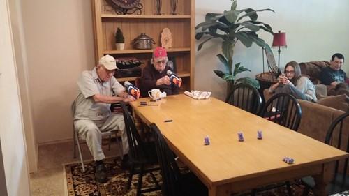 kids,Grandpa,parenting,nerf gun,toys,peeps