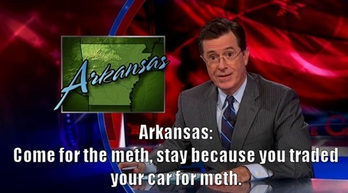 arkansas,drugs,stephen colbert,the colbert report