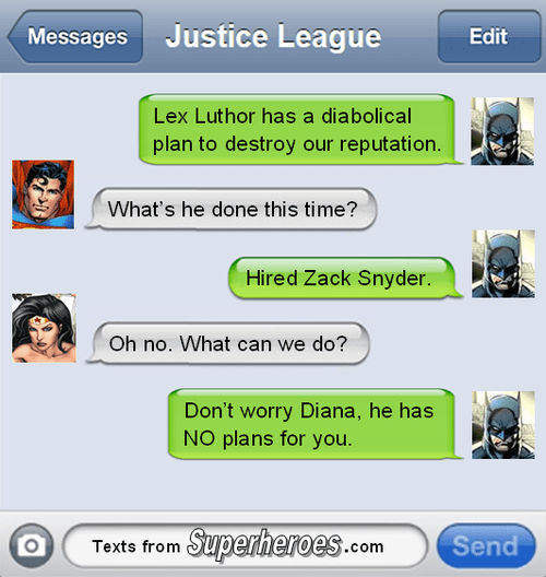 justice league texts Zack Snyder batfleck