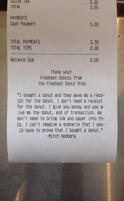 donuts,receipt,mitch hedberg,g rated,win