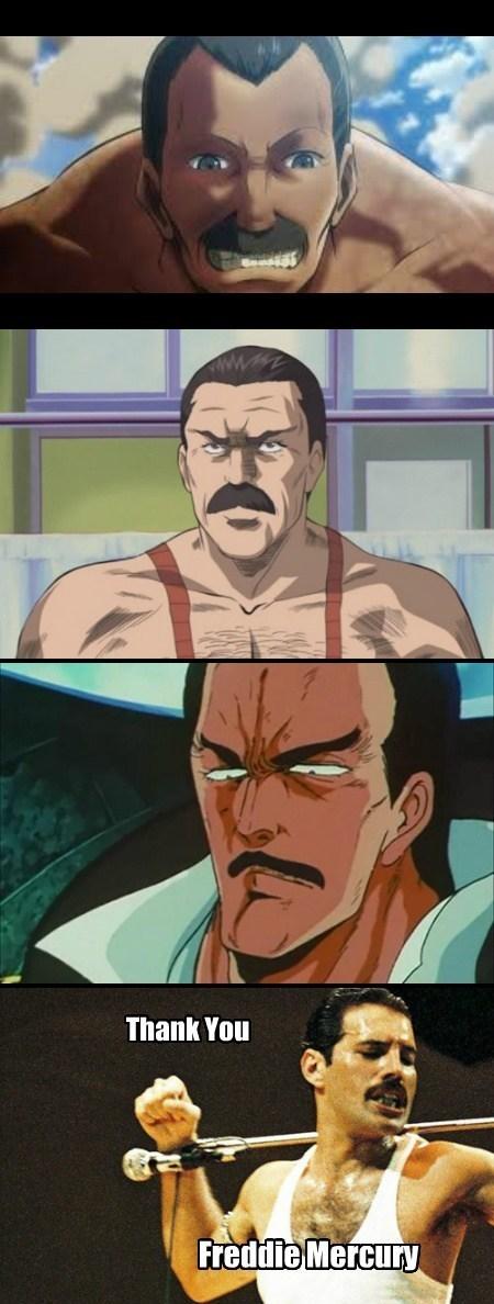 mustache,freddie mercury,anime