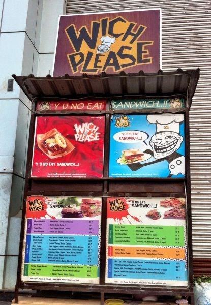 IRL restaurant sandwich trollface Y U NO