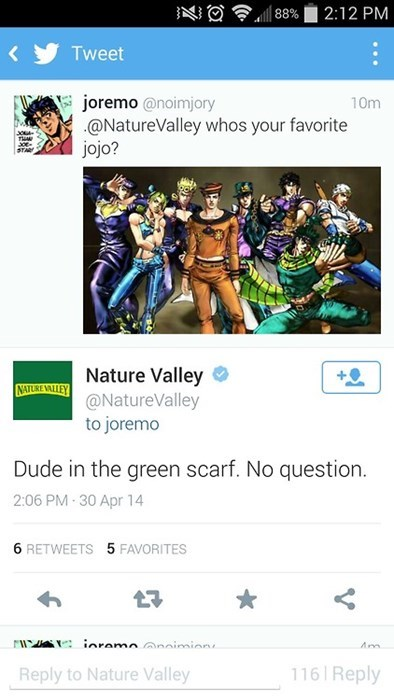 nature valley twitter JoJo's Bizarre Adventure crumbs everywhere failbook g rated - 8169721344