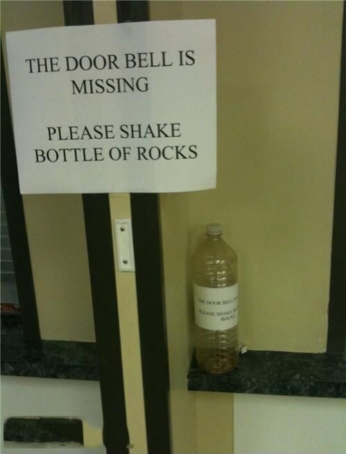 Bottle - THE DOOR BELL IS MISSING PLEASE SHAKE BOTTLE OF ROCKS ASE A