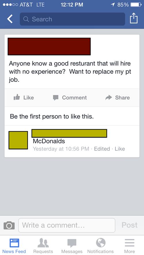 work McDonald's restaurant burn - 8172372224