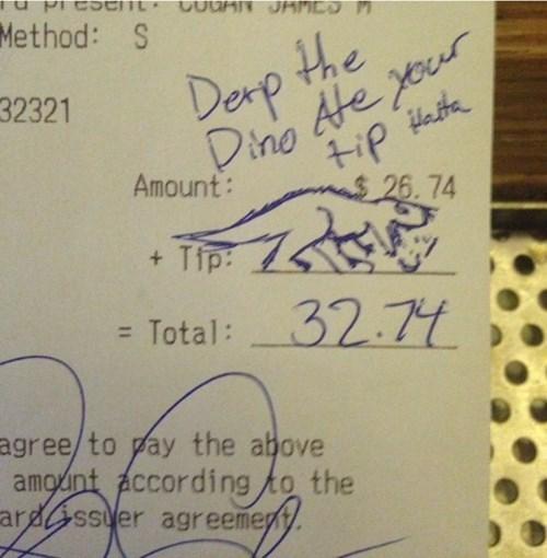 derp dinosaurs monday thru friday waiter work tips g rated - 8174717440