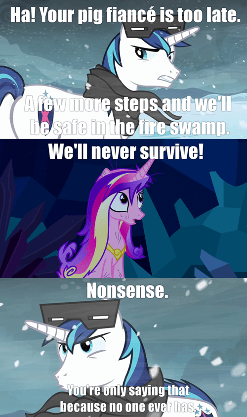 fire swamp,princess cadence,shining armor,princess bride