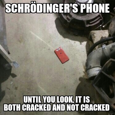 cracked screen,phones,schrodinger's phone