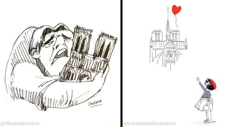 paris notre dame fire tribute notre dame de paris illustration - 8177413