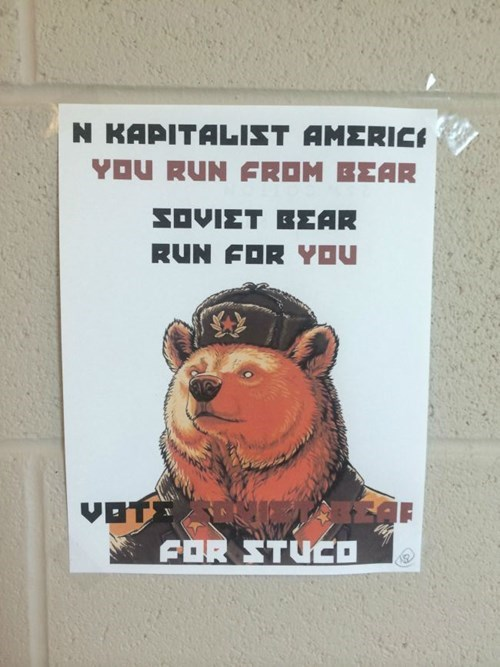soviet bear,signs,funny,student council
