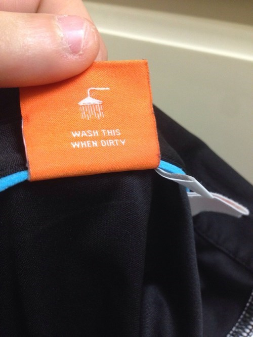 cleaning instructions label poorly dressed tag wash