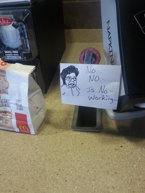fast food monday thru friday out of order sign work family guy - 8177517056