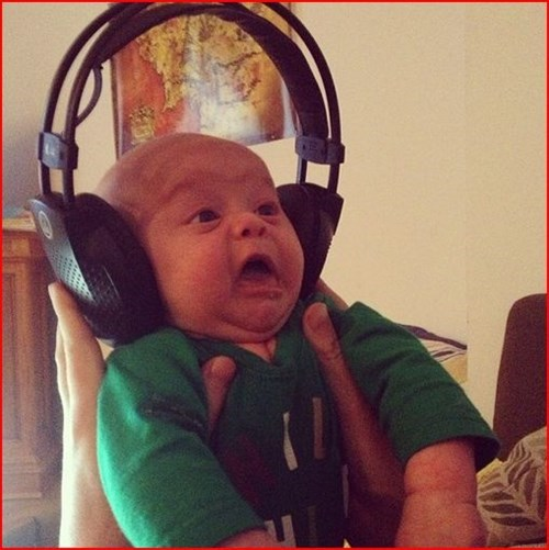 baby,headphones,expression,parenting,g rated