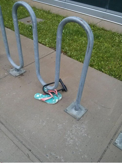 bike lock,bike rack,flip flops,poorly dressed