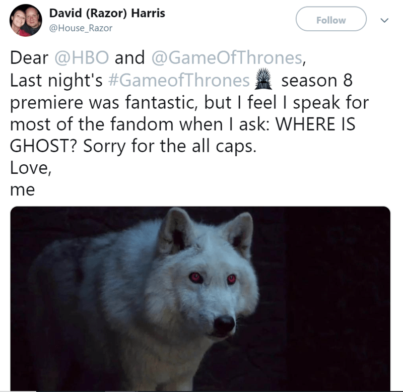 Funny Tweets about Game Of Thrones and where is ghost