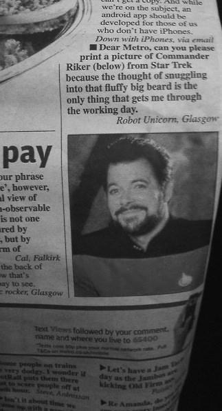 newspaper Star Trek william riker - 8177672704
