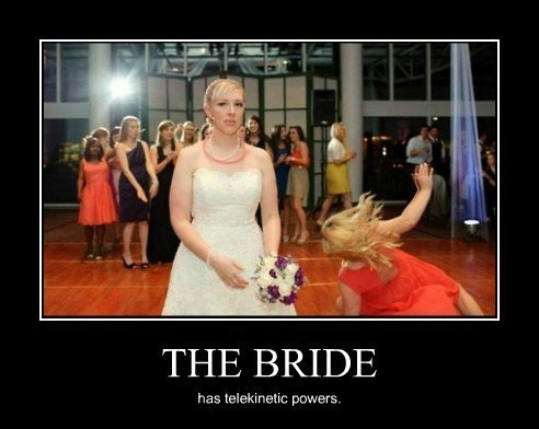 bride,funny,telekinesis,wedding