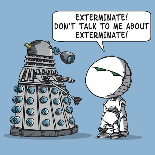 daleks,Hitchhikers Guide To the Galaxy,marvin,tshirts