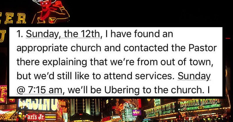 christian girl takes over bachelorette party | 1. Sunday 12th have found an appropriate church and contacted Pastor there explaining out town, but still like attend services. Sunday 7:15 am be Ubering church.